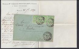 """FR -1899 """"Etude De Me Amboise Montheilhet Notaire"""" Affr.15 Ct Type Sage Bande De 3 Sur Enveloppe De Marat Pour Vertolaye - 1877-1920: Semi Modern Period"""