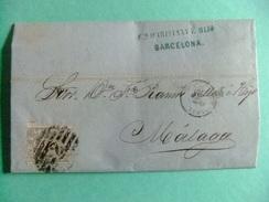 ESPAÑA ESPAGNE 1870 Edifil 107 Carta Circulada 3/9/1870 BCN Sr.Maristany - MALAGA Sr.Tellez - 1868-70 Gobierno Provisional