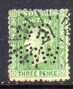 XP3641 - NEW SOUTH WALES , 3 Pence Crown On NSW : Punctured Perfin OS NSW Usato - 1850-1906 New South Wales