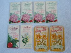 8 étiquettes Publicitaire Carte De Visite Magasin L'Initiale Parfumerie LYON - PARIS / Eau De Cologne Jonquille D'or - Etiquettes