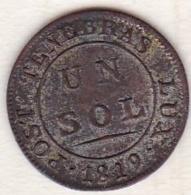 Canton De Genève.  1 Sol 1819 . KM#  119 - Suisse
