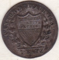 Canton De Vaud  . 1 BATZEN 1831/0 (1 Sur 0) Rare. KM# 20 - Suisse
