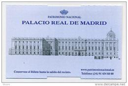 Ticket D'entrée Au Palacio Real De Madrid (Espagne, Spain, España, Spanien) - Tickets D'entrée