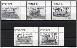 Sao Tome E Principe, 1992, Locomotives, Trains, Railroads, MNH, Michel 1374-1378 - Sao Tome Et Principe