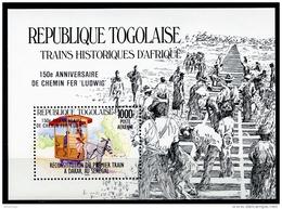 Togo, 1985, Train, Locomotive, Railroad, MNH Overprinted, Michel Block 280 - Togo (1960-...)