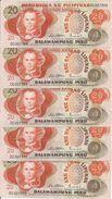 PHILIPPINES 20 PISO ND1970 UNC P 155 ( 5 Billets ) - Philippines