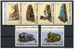 St Thomas And Prince, 1982, Locomotives, Trains, MNH Set, Michel 808-13 - Sao Tome Et Principe