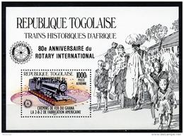 Togo, 1985, Train, Locomotive, Railroad, Rotary International, MNH Overprinted, Michel Block 277 - Togo (1960-...)