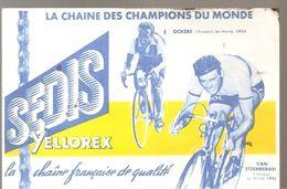 Buvard Cyclisme SEDIS YELLOREX La Chaîne Des Champions Du Monde OCKERS 1955 VAN STEEBERERGE 1954 - Bikes & Mopeds