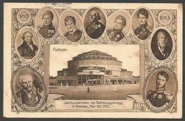 Jahrhundertfeier Der Befreiungskriege In Breslau (Wroclaw, Polen), Mai - Oct. 1913, Mit Festhalle, Stempel Deutsch-Lissa - Schlesien