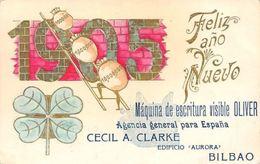 1905 Shamrock, Feliz Ano Nuevo, Maquina De Escritura Visible Oliver, Espana - Publicité