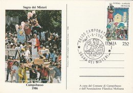 1986 CAMPOBASSO SAGRA Dei MISTERI EVENT COVER Card Italy Religion Christianity Stamps - Christianity