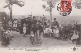 CPA TOUT PARIS N° 1815  XVIII°  Promontoire Du SQUARE SAINT PIERRE Femmes Et ENFANTS Vue Sur PARIS Timbre 1909 - District 18