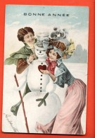 EVB-38 Couple Et Bonhomme De Neige. Bonne Année. Précurseur, Cachet 1905 - Nouvel An