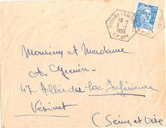 4234 POTIGNY Calvados Lettre 15 F Gandon Bleu Yv 886 CPN° 1 Ob 3 1 1955 Hexagone Pointillé Poste Auto Rurale Lautier G7 - Postmark Collection (Covers)