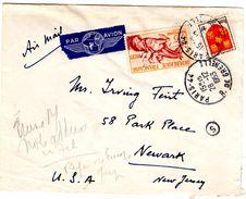 Lettre Par Avion De Paris 44_Grenelle_(28.12.1953) Pour Newark, New Jersey, Yvert N° 965 Et 952 - Lettres & Documents