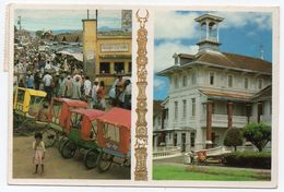MADAGASCAR - LE MARCHE' DE SABOTSY ET L'HOTEL DES THERMES ANTSIRABE / THEMATIC STAMPS-BUTTERFLY - Madagascar