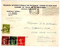 Lettre De Gare St Lazare (09.10.1937) Pour Columbia Marque Linéaire Cherbourg Maritime_Physique Chimie Biologie_Withrow - France