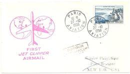 4218 PARIS Aviation Lettre Dest New York Retour à L'envoyeur 65F Evian Yv 1131  Ob 27 10 58 - 1927-1959 Lettres & Documents