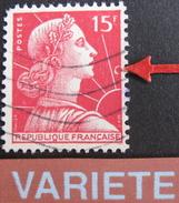 LOT R1703/590 - 1955 - TYPE MARIANNE DE MULLER - N°1011b - VARIETE ☛ ANNEAU-LUNE - Curiosidades: 1950-59 Usados