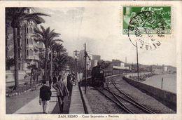 SAN REMO-IMPERIA-CORSO IMPERATRICE E STAZIONE FERROVIARIA-ANIMATA CON TRENO IN ARRIVO-CARTOLINA VIAGGIATA IL 14-8-1920 - San Remo