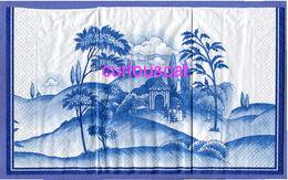 1 SINGLE BUFFET DINNER SIZE PAPER NAPKIN PAPIER SERVIETTE TOVAGLIO BLUE WHITE GARDEN SCENE - Serviettes Papier à Motif