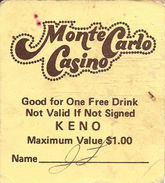 Monte Carlo Casino - Las Vegas, NV - Paper Free Drink Coupon  (2 X 2 Inches) - Advertising