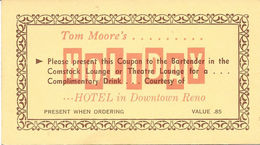 Holiday Hotel Casino - Reno, NV - Paper Free Drink Coupon (2.5 X 4.5 Inches) - Advertising