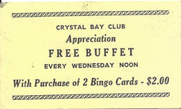 Crystal Bay Club / Casino - Lake Tahoe, NV - Free Buffet Coupon (2 X 3.5 Inches) - Advertising