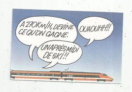 Cp, Chemin De Fer  , Train , Publicité SNCF , TGV , à 270 Km/h , Le Train Du Bon Temps à Bon Prix , Vierge - Trenes