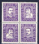 +D2429. Denmark 1924. Coprint Bloc Of 4. Michel 132, 135, 138, 141. MNH(**). - 1913-47 (Christian X)