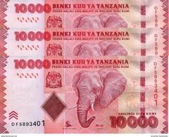 TANZANIA 10000 SHILLINGS ND (2015) P-44b UNC 3 PCS [TZ143b] - Tanzanie