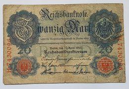 BILLET - ALLEMAGNE - EMPIRE - P.40b - REICHBANKNOTE - 20 MARK - 21/04/1910 - [ 2] 1871-1918 : German Empire