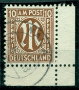 M Im Oval, Nr. 20 X Gestempelt, Ecke, Geprüft BPP - Bizone