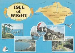 Postcard Map And Multiview The Isle Of Wight  My Ref B22011 - Maps