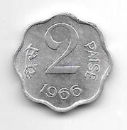 India 2 Paisa 1966 Ckm 13.1  Unc - India