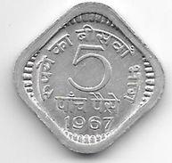 India 5 Paisa 1967 C  Km 18.1  Unc - Inde