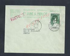 LETTRE COMMERCIALE DE 1951 Ets JUBE & PIERLOT TRANSPORT GENERAUX DEMENAGEMENTS À PINEY : - Lettres & Documents