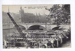CPA Paris Les Travaux Du Métro Sur La Seine N° 900 E.L.D. - Metropolitana, Stazioni