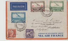 B376 / Flugpost Mit Air France Nach Schweden Und Neu Frankiert Nach Belgien Zurück - Belgien