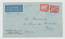 MLY047 / Malaya Selangor 1933. Firmenpostnach Paris Mit KLM - Selangor