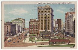 Cleveland OH Public Square Looking East C1940s Vintage Linen Ohio Postcard M8774 - Cleveland