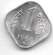 *india 1 Paisa 1966 B  Km 10.1  Unc - Inde