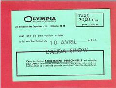 TICKET CONCERT DALIDA SHOW DU 10 AVRIL A L OLYMPIA - Concert Tickets
