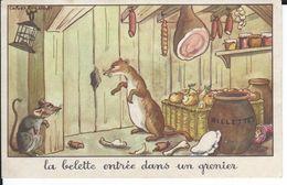 CHROMO-IMAGE - Fables De La Fontaine Signée Calvet-Rogniat - La Belette Entrée Dans Un Grenier  - Très Bon état - - Old Paper
