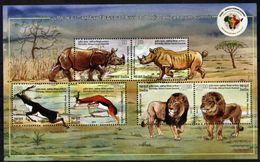 INDIA, 2015, 3RD INDIA-AFRICA FORUM SUMMIT, FAUNA, YV#B.119, SS, MNH - Rhinozerosse