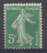 Type Semeuse Fond Plein Sans Sol. 5c. Vert Clair Y137a - France
