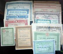 ACTION OBLIGATION RUSSIE INDOCHINE MINES TABAC PETROLE  LOT DE 58 ACTIONS DIVERSES 1900 ILLUSTREES BON ETAT - Other