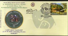 India 2017 Animal Adoption Mysore Zoological Garden Wildlife Special Cover # 18495 - Postzegels
