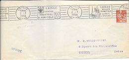 ORNE 61 -  LAIGLE  -  FLAMME N° LAI   102 R  - VOIR DESCRIPTION  -  1958  - TIMBRE N° 1115 TARIF IMPRIME - Postmark Collection (Covers)